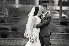 Black-and-white-photo-of-bridge-and-groom
