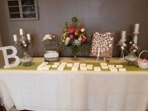 name cards on table with wedding decor