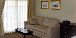 tan sofa with coffee table in the riverview suite