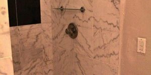 Romantic Sunset Suite standings shower with marbling details