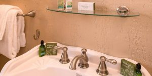 sink with bathroom toiletries