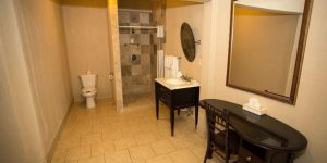 bathroom with standing shower and vanity