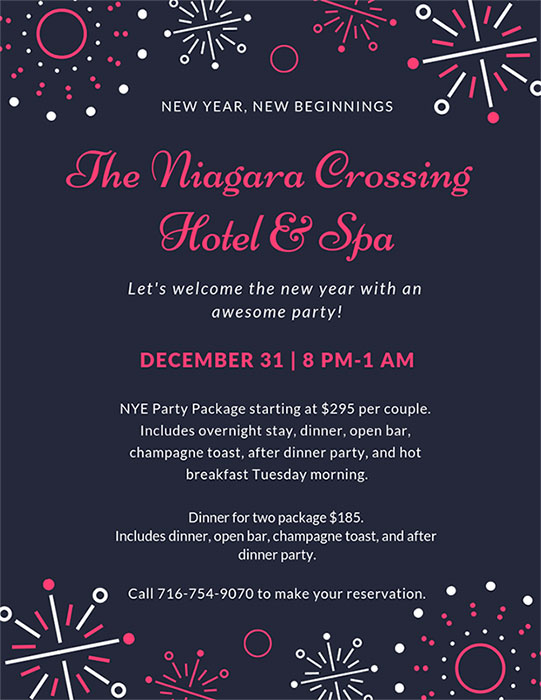 flyer for New Year's Eve Special for The Niagara Crossing Hotel and Spa